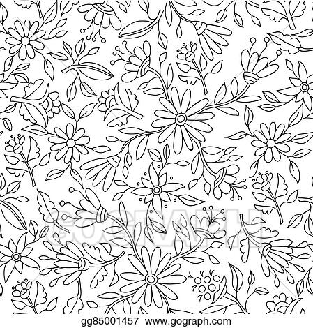 Vector Stock Flower Background In Black And White For Coloring