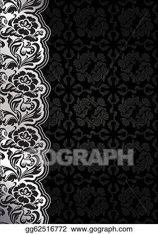 Vector Stock - Flower background with lace, seamless dark template ...