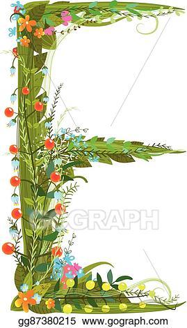 Flower Blossom Decorative Botanical Elegant Alphabet Letter E