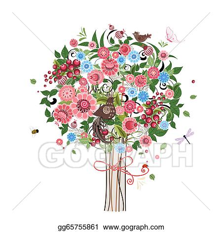 Vector Stock Flower Decorative Tree With Birds Clipart