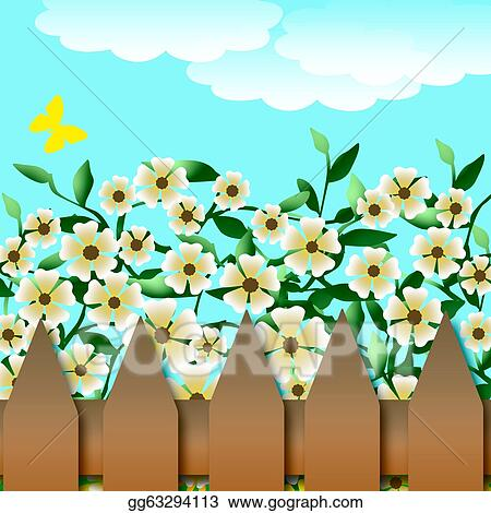 Drawing Flower garden and fence Clipart Drawing gg63294113