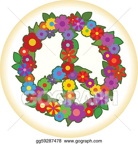 vector clipart flower power vector illustration gg59287478 gograph rh gograph com Hippie Flower Clip Art Flower Clip Art