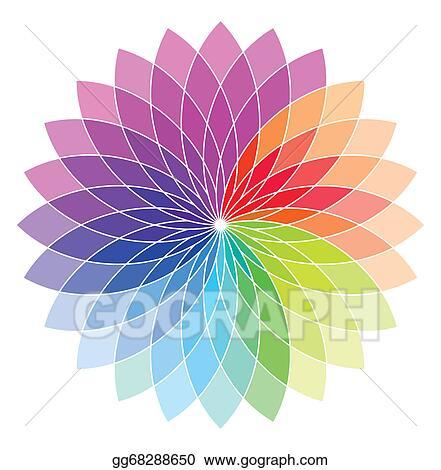 Vector Illustration Flower Shape Color Wheel Stock Clip Art