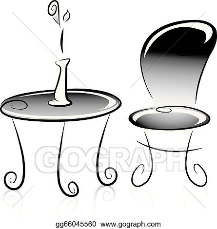 Vector stock flower vase table and chair in black and white flower vase table and chair in black and white mightylinksfo