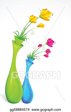 Vector Art Flower Vase Clipart Drawing Gg58884574 Gograph