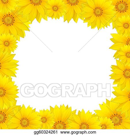 Stock Illustration Flowers Frame With Yellow Sunflower Isolated On