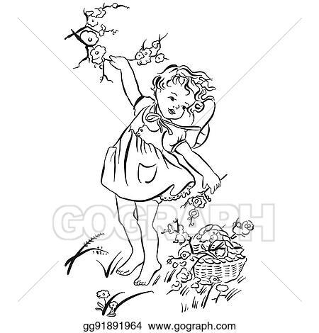 Vector Stock Flowers Picking Art Print Clipart Illustration