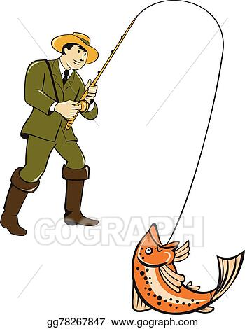 50fa551d97cd1 Clip Art Vector - Fly fisherman catching trout fish cartoon. Stock ...