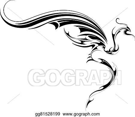 9c2b07700e337 Clip Art Vector - Flying dragon tattoo. Stock EPS gg81528199 - GoGraph