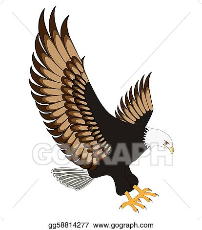 vector art flying eagle insulated on white background clipart