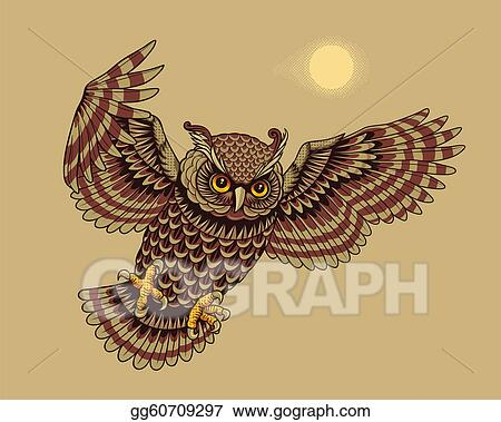 drawings flying and hunting owl bird stock illustration gg60709297