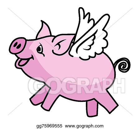 vector art flying pig clipart drawing gg75969555 gograph rh gograph com  flying pigs clip art free