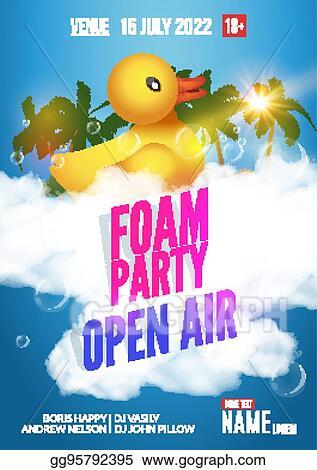 eps vector foam party summer open air beach party foam party