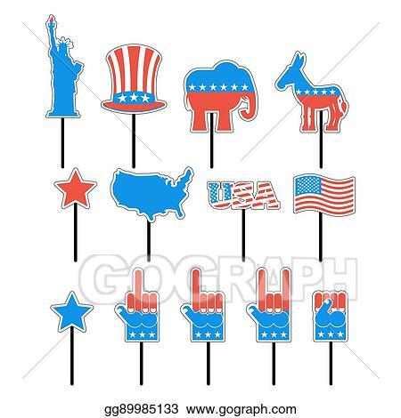 Vector Art Foam Sign President Election Of America Set Photo