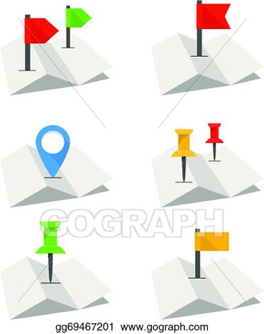 EPS Illustration - Folded abstract city map with collection