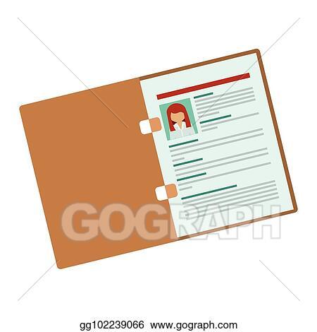 Vector Art Folder With Woman Curriculum Vitae Eps Clipart