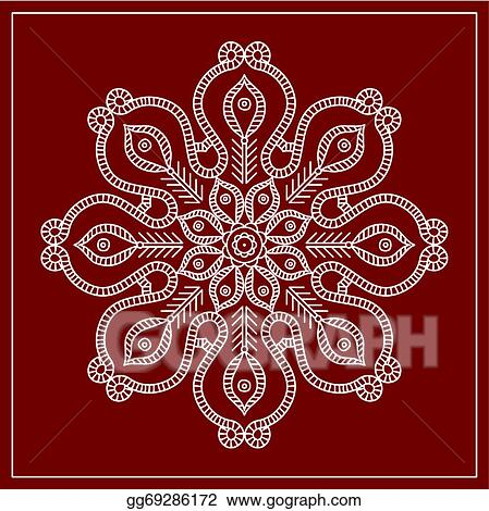 Vector Stock Folk Circular Tribal Design Motif Wall Painting