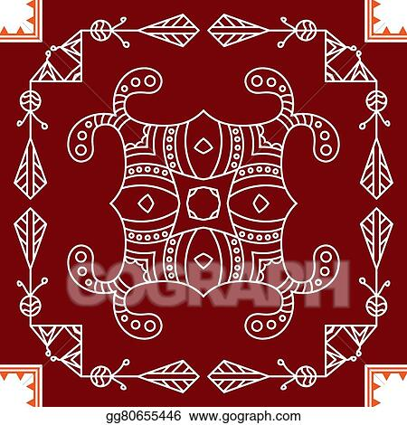 Clip Art Vector Folk Tribal Design Motif Wall Painting Stock