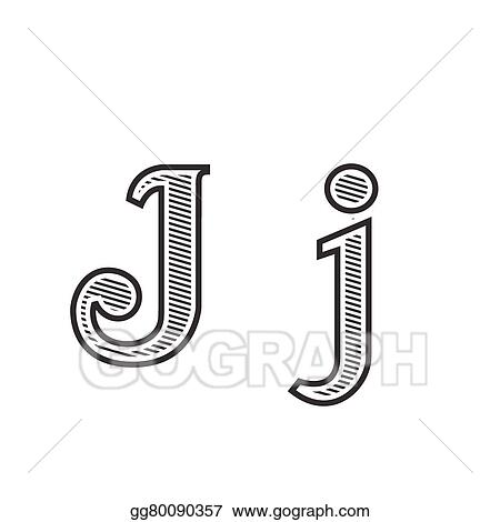 vector stock font tattoo engraving letter j with shading clipart