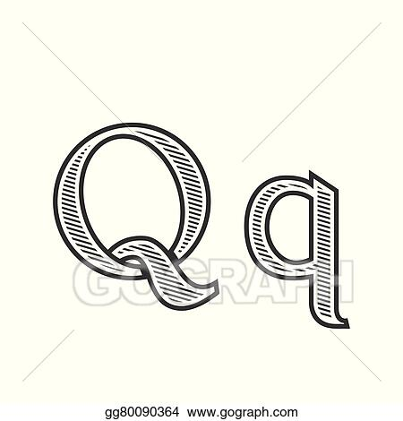 Eps Illustration Font Tattoo Engraving Letter Q With Shading