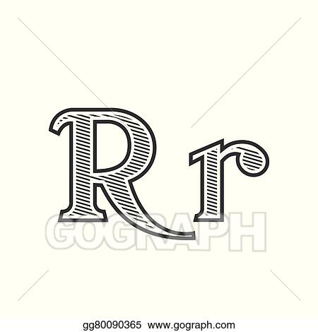 Vector Stock Font Tattoo Engraving Letter R With Shading Clipart