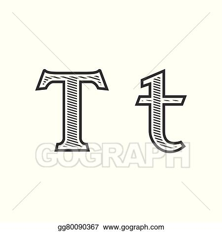clip art vector font tattoo engraving letter t with shading stock