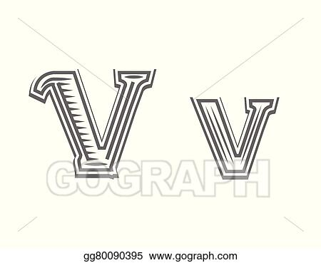 Vector Art Font Tattoo Engraving Letter V Clipart Drawing