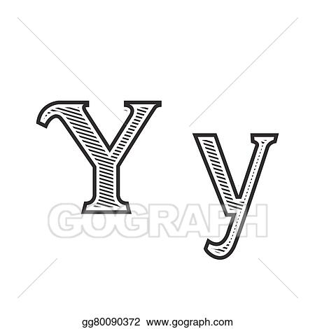 Vector Art Font Tattoo Engraving Letter Y With Shading Clipart