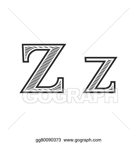 Vector Art Font Tattoo Engraving Letter Z With Shading Eps