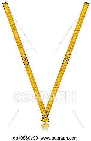 Drawing - Font v - old yellow meter ruler  Clipart Drawing