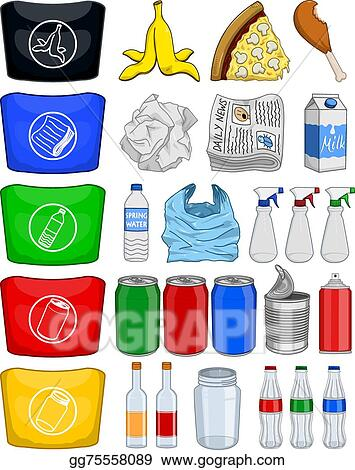 EPS Vector - Food bottles cans paper recycle. Stock ...