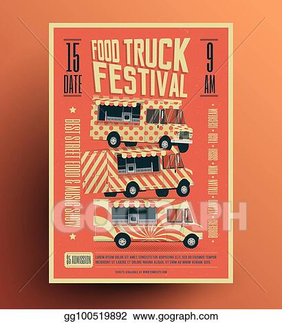 Food Truck Street Festival Poster Flyer Template Vintage Styled Vector Ilration