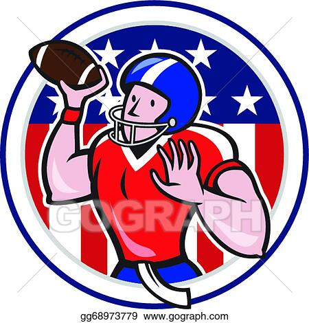 Eps Vector Football Quarterback Throwing Circle Cartoon Stock