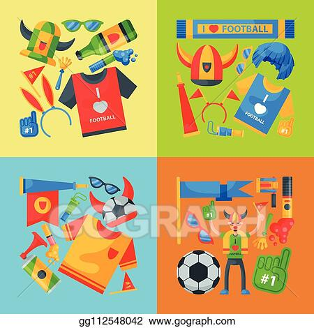 Vector Stock Football Team Supporter Banner Vector Illustration Soccer Sport Fan Attribute Rooter Buff Man Accessories And Supplies To Cheer For Your Favorite Team Ball Hat Flag I Love Football Clipart