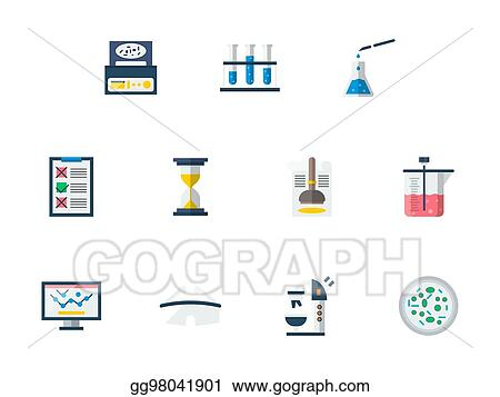 Vector Art Forensic Examination Flat Color Vector Icons Set Eps Clipart Gg98041901 Gograph