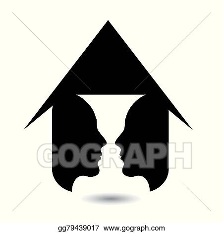 Eps Vector Form Of Vase Created From 2 Faces Stock Clipart