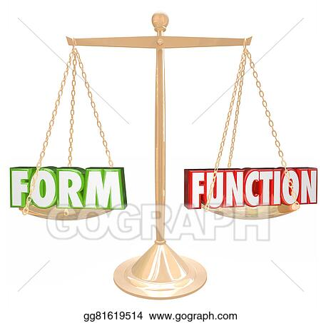 stock illustration form over vs function words gold scale style