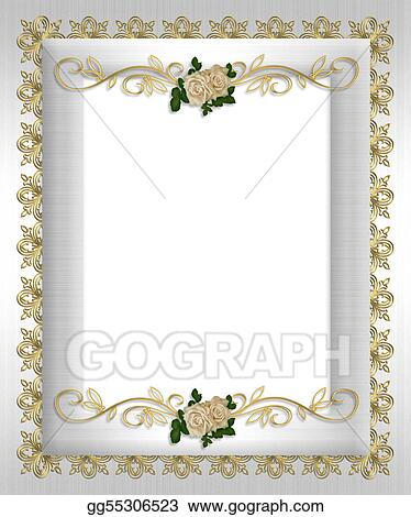 Stock Illustration  Formal Invitation Template White Satin Clip