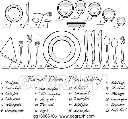 Formal table setting  sc 1 st  GoGraph & Vector Illustration - Formal table setting. EPS Clipart gg76066105 ...