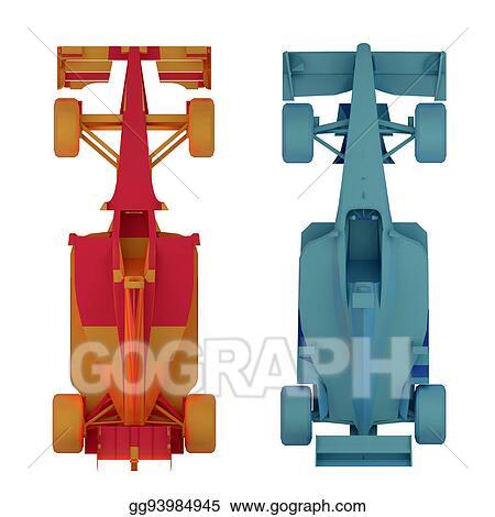 Stock Illustration Formula 1 Race Car Top View 3d Rendering