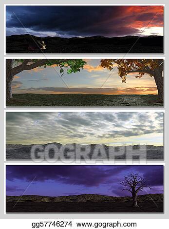 Stock Illustrations - Four different fantasy landscapes for