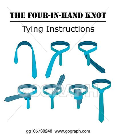 four in hand tie knot instructions isolated on white background  guide how  to tie a necktie  flat illustration in vector