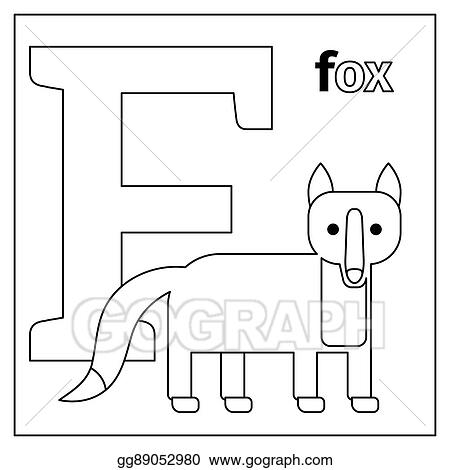 Clip Art Vector - Fox, Letter F Coloring Page. Stock EPS Gg89052980 -  GoGraph