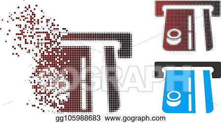 Vector Stock - Fractured pixel halftone bank terminal icon  Stock