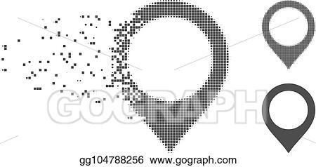 vector art fractured pixel halftone map marker icon eps clipart