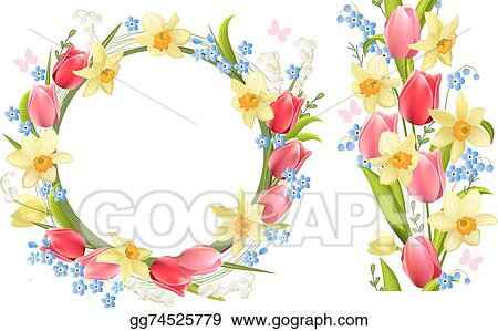 Vector Stock Frame And Seamless Border With Spring Flowers Stock