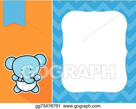 Vector Art - Frame baby elephant. Clipart Drawing gg73476791 - GoGraph