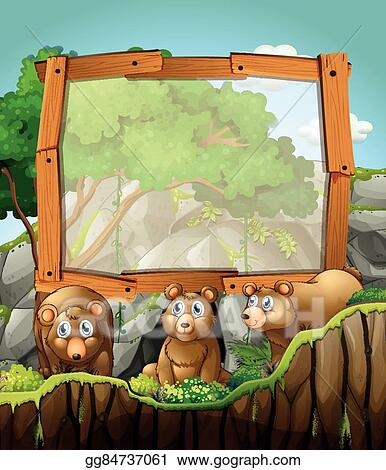 Vector Stock Frame Design With Three Bears At The Cave Clipart