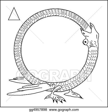 Drawing - Frame, dragon eating himself. Clipart Drawing gg4957898 ...