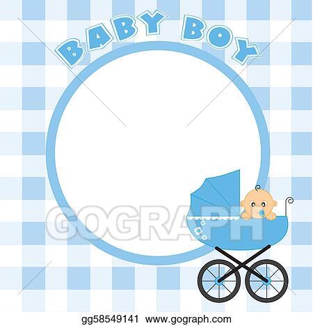 Vector Stock - Frame for baby boy. Clipart Illustration gg58549141 ...